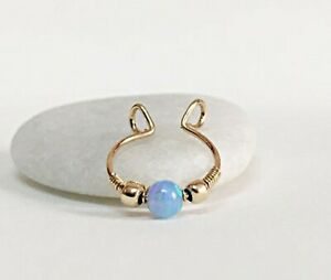 9K 14K 18K Fake Septum Ring Opal Non Pierced Horseshoe Hoop FloweRainboW