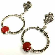 Sterling Silver 925 Art Deco Red Coral & marcasite Droplet Hoop Earrings