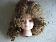 """Vintage Porcelain Girl Doll Head and Neck with Brown Hair Wig 4 1/4"""" Tall"""