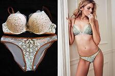 Victoria's Secret Dream Angels Opal Blue Bronze Brown Push Up 36C Bra&Panty Set