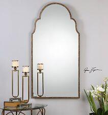 "Restoration Arch Xxl 60"" Rust Bronze Gold Metal Wall Vanity Mirror"