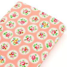 Cotton Fabric per FQ Floral & Circle White Retro Polka Dot Spot Quilt Craft VK77