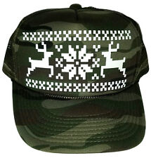 Reindeer Christmas Sweater Party Snapback Mesh Trucker Hat Cap Camo