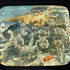 Antique Magic Lantern Glass Slide Battle Of Spion Kop Boer War Color Africa