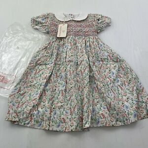 NWT Smockingbird Smocked Holiday Pink Floral Dress Girl's Size 4T