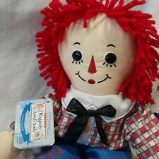 """Raggedy Andy Doll Applause Stuffed Plush Doll 2010 Hasbro New With Tags 17"""""""