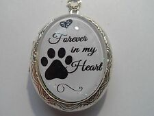 STERLING SILVER PLATED MEMORIAL DOG FOREVER IN MY HEART LOCKET