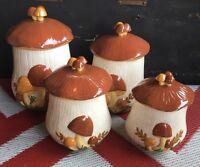 Vintage Arnels Mushroom 8 Pc Canister Cluster Set Yellow Orange Brown Speckled