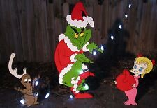 Yard Art Grinch, Max, Cindy Lou Are Stealing Christmas Decorations Outdoor Wood