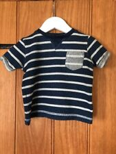 Next Lovely Baby Boys Blue Striped T Shirt Age 3-6 Months 100% Cotton