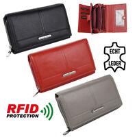 Leder Damen Geldbörse Großes Portemonnaie Geldbeutel für Frauen mit RFID Schutz!