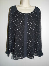 Women's LC Lauren Conrad Black With Gray Heart Chiffon Top Size 0X