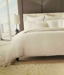 HOTEL COLLECTION NATURAL WAFFLE WEAVE FULL/QUEEN DUVET COMFORTER COVER +1 SHAM