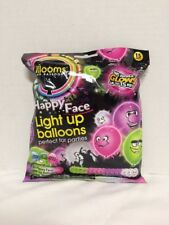 Pack Of 15 New LED Light Up Illooms Happy Face Balloons New