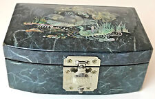 Black Lacquered W/ Mother Of Pearl Duck Pond Inlay Jewelry Trinket Ring Box