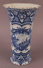 """Beautiful Antique Signed 18thC Dutch Blue & White Delft Pottery Vase """"Z DEX"""""""