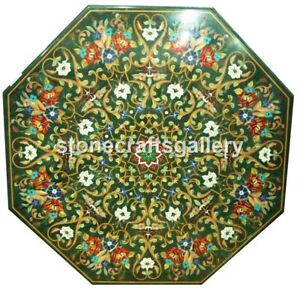 """36"""" Green Marble Dining Side Table Mosaic Floral Inlay Arts Handmade Decors B072"""