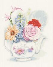 Cross Stitch Kit ~ Lanarte Home and Garden Flowers In Teapot #PN-0155692