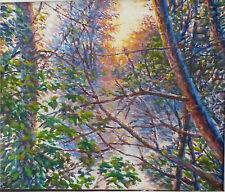 ORIGINAL OIL Painting Hand painted forest Landscape Artwork wall Fine ART decor