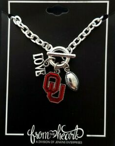 Oklahoma Sooners Touchdown Bracelet with Love Football Charms