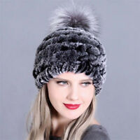 Fashion Women's Knitted Rex Rabbit Fur Hat Winter Warm Fox Fur Pom Cap Hats