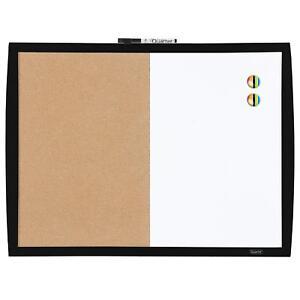 """Quartet Dry Erase Board / Cork Board, Magnetic, 17"""" x 23"""", Curved Frame, Black"""