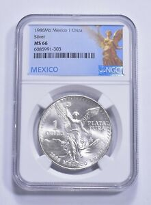 1986 MS66 Mexico Mexican Libertad Graded NGC 1 oz Silver .999 Fine *225