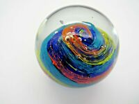Art Glass Paperweight Orange and Yellow Swirl with Bubbles Vintage