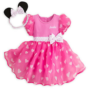 NWT Disney Store Minnie Mouse Pink Baby Costume & Ears SET 0 3 6 9 12 18 M