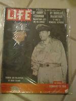 LIFE MAGAZINE TRUMAN AND MACARTHUR AT WAKE ISLAND FEBRUARY 13, 1956