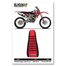 2009-2012 HONDA CRF 450 Ribbed SEAT COVER Black & Red/Black Ribs by Enjoy MFG