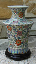 ANTIQUE 19C CHINESE FAMILLE ROSE POLICHROME PORCELAIN HAND PAINTED VASE ON STAND