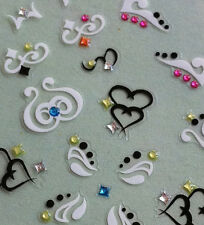 Nail Art 3D Sticker Color Crystal Decal Black & White Heart Star Patterns 42pcs