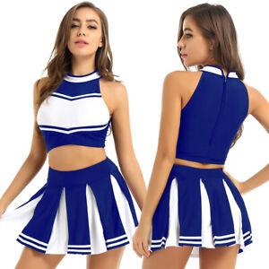 Women Cheer Leader Cheerleading Uniform Cosplay Set Crop Top Mini Pleated Skirt