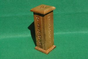 SMALL VERTICAL INCENSE BURNER CABINET IN LIGHT WOOD WITH INTERESTING GRAIN