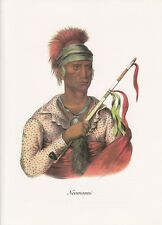 """1972 Vintage Full Color Art Plate """"CHIEF NEOMONNI"""" NATIVE AM. INDIAN Lithograph"""