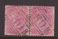 Tasmania numeral 30 (EVANDALE) cancel on 1d QV sideface pair