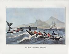 """1972 Vintage Currier & Ives FISHING """"WHALE FISHERY - LAYING ON"""" COLOR Lithograph"""
