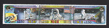 Strip of 3 Niue stamps 25th Anniversary of the First Moon Landing Space Travel