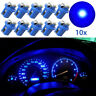10PC T5 B8.5d 5050 1smd Car Blue LED Dashboard Dash Gauge Instrument Light Bulbs