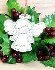 ALBERO di Natale personalizzata Angelo Decorazione pallina natale ornamento d'argento
