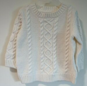 NWT Janie and Jack Snowflake Lane Ivory Cable Knit Sweater Boy's 6-12 Month