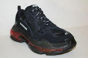 BALENCIAGA Triple S Sneakers Men's Sz 43 EU / US 10 Black Burgundy Shoes
