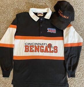 Vintage 80s Nutmeg Cincinnati Bengals T Shirt Sz M Super Bowl XXIII Corduroy Hat