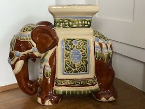 VINTAGE CERAMIC TREACLE BROWN AND GREEN POTTERY DECORATIVE ELEPHANT PLANT STAND