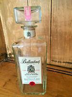 1960s Scotch Whisky Bar Bottle Ballantine's Label Clear Glass Decanter Cork VTG