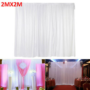 2M X 2M White Stage Wedding Party Backdrop Photography Background Curtains