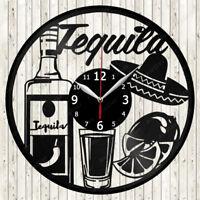 Tequila Vinyl Record Wall Clock Decor Handmade 1823
