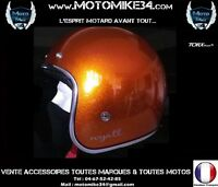 Casque Jet Rétro Vintage 3/4 Moto Scoot ORANGE metal flake XS/S/M/L/XL