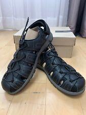 Clarks Men/'s Brixby Cove Sz US 13 M Black Leather Fisherman Sandals $100.00